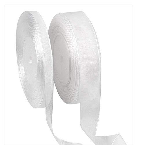 Vientian lint wit - 15mm en 25mm nylon garen lint wit voor knutselprojecten, handwerk, bruiloft, feestdecoratie, cadeaulint