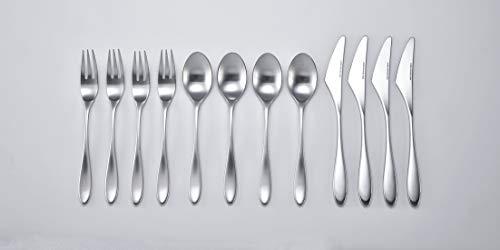 SHU SHU Bolero - Cubertería para 4 personas con cuchillo, tenedor, cuchara de acero inoxidable, fabricado en Japón