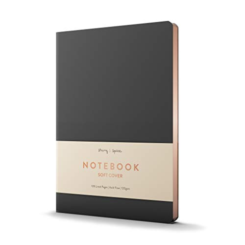 Cuaderno A5 con Líneas - Tapa Blanda, Cuero Vegano, Papel Extra Grueso de 120 g. - Disposición Horizontal, Cuaderno de Notas con 2 Cintas, Papel Blanco y Borde Dorado - 128 Páginas