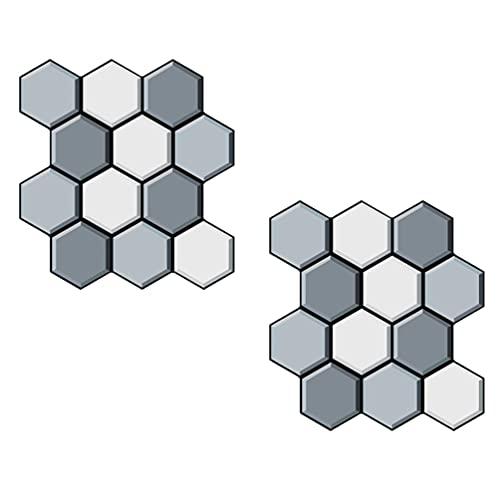 FAVOMOTO 2 Piezas Espejo Adhesivo de Pared 3D Hexágono Espejo Azulejos Decorativos Adhesivos de Pared Espejo Azulejo Adhesivo Panal Pegatinas