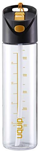 Uquip Aktywność butelki na wodę Tritan - 650 ml bez BPA   Szczelna do roweru i sportu (przezroczysty)