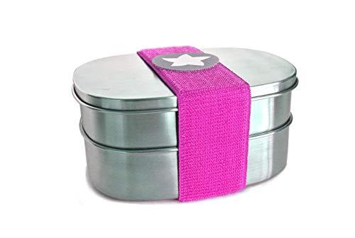 kjomizo I do dotty DOPPELBOX schadstofffreie Edelstahl Brotdose (16,5x12x7,5) eine Dose mit und eine ohne Trennsteg + Klettmotiv zum Individualisieren für Kindergarten und Schule PINK