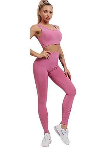 2 Piezas Conjunto de Yoga para Mujer Conjunto de Chándal Gym Mallas de Yoga Sin Costuras + Sujetador Deportivo Elástico Ropa de Gimnasio Elástico Stretch-Fit Ropa de Deporte Conjunto