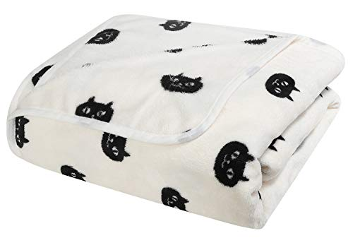 Reversible Fleece Cat Print Blanket