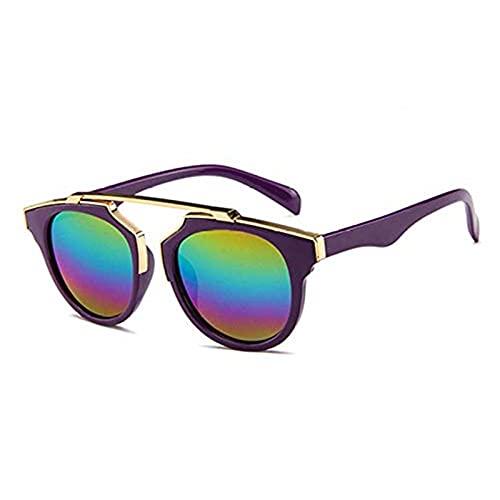 XDJ Gafas De Sol Niños Elegante Gafas De Sol, 3 A 8 Años Niño Gafas, Anti-UV Chico Chicas Gafas De Sol, Bebé Gafas De Sol, 8 Color (Color : Purple+multicoioured Mercury)
