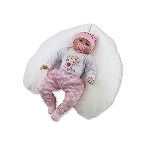 CorpoMed Stillkissen Mini 127x28cm, Set inkl. Bezug (weiß) , handgenäht aus Deutschland, waschbarer kuscheliger Jersey-Bezug, verwendbar als Schwangerschafts-Kissen und Lagerungskissen