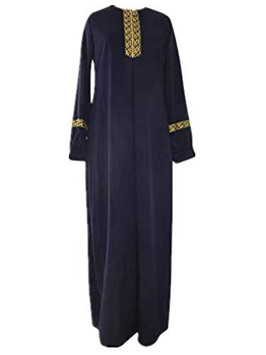 TEBAISE Muslimische Damen Robe Kaftan Maxikleid Langarm Rayon Sticken Gewand Formal Modest Abendkleid Große Größe Abaya Dubai Kleider Muslim Frauen Hochzeit Kleid Tunika Kleidung islamischen Kleid