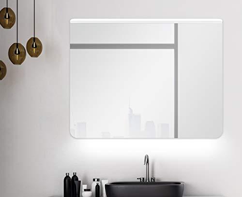 Badspiegel mit Beleuchtung Talos Case - Badezimmerspiegel in 80 x 60 cm mit LED Unterlicht und Acryl Lichtdach