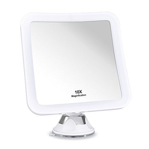 "iAdorn 10x Magnifying Lighted Makeup Mirror - Daylight LED Travel Vanity Mirror - Compact, Cordless, Locking Suction, 6.5"" Wide, 360 Swivel Rotation, Portable Illuminated Bathroom Mirror - Square"
