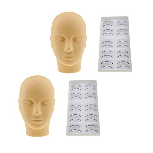 FLAMEER 2pcs Tête de Maquillage pour Faux Cils Extension Cils Formation pour Plat Tête de Maquillage Visage avec Peau Souple et 20 Paires de Faux Cils