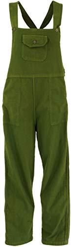 GURU SHOP Pantalones de peto, estilo étnico, pantalones de mujer, algodón, pantalones largos alternativos Verde oliva. M