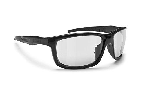 BERTONI Selbsttönende Photochrome Windschutz Sportbrillen Sonnenbrillen Radfahren - Skifahren - Laufen - Golf - Alien F Automatische Scheibentönung (Matt schwarz)
