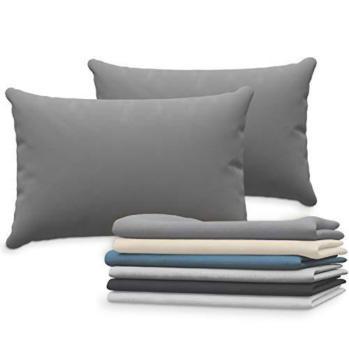 Dreamzie Set de 2 x Taie Oreiller 40x60 cm, Anthracite Jersey Coton, 100% Coton - Taie Oreiller 40 x 60 - Housse de Coussin pour Le Lit - Protège Oreiller - Résistant et Hypoallergénique
