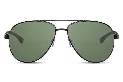 Cheapass Piloten-Sonnenbrille Flieger-Brille UV-400 Metall-Rahmen Farbvariation Unisex (CA: 011 - Schwarz)