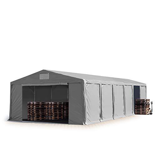TOOLPORT Lagerzelt Industriezelt 8x12 m Zelthalle mit 3m Seitenhöhe in grau ca. 550g/m² PVC Plane 100{9db50668bbaee26f7833b15ca2669d7dfee60c3574e2a4ca147a01ca74f9e3ff} Wasserdicht Ganzjahreszelt mit Reißverschlusstor