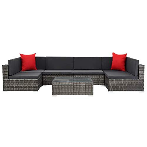 Festnight 7-delige Loungeset met kussens poly rattan Eettafel Tafel en stoelen Keuken Stoffen zitting Eetstoelen Moderne stijl Tuinset Meubels grijs