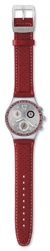 Swatch YCS518 - Reloj analógico de caballero de cuarzo con correa de piel roja
