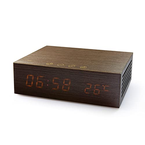 despertador cargador inalámbrico Reloj Despertador de Carga Inalámbrica Pantalla Digital LED Bocina Bluetooth NFC Control Tactil Detección de Temperatura Llamadas Manos Libres Carga USB Dual Hecho Mad