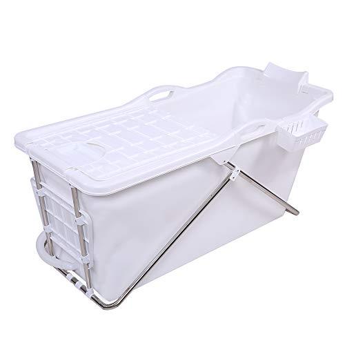 Schwänlein® mobile badewanne Faltbare Badewanne 128cm mit Seifenkorb, Nackkissen, Hocker. Praktisch und Tragbar (weiß)