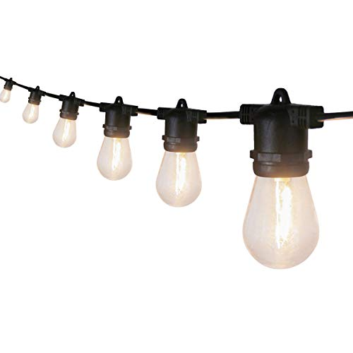 BBE 50FT Patio String Light Outdoor Waterproof Commercial Grade with Edison Vintage Bulbs 15 Hanging Sockets Heavy-Duty Extendable Cord Plug in for Bistro Pergola Backyard Christmas Decorative