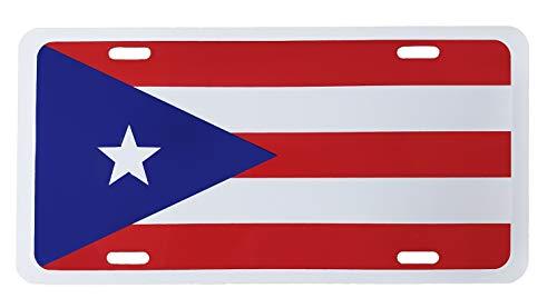 Puerto Rico Flag Metal License Plate Auto Tag 6' x 12'