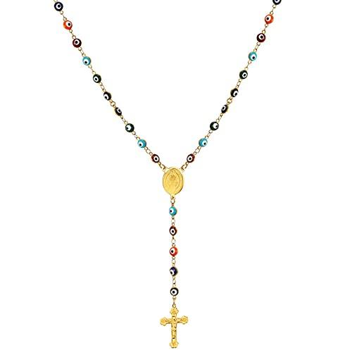 Minekkyes Collar de Rosario para Mujer, Regalo de oración católica, Acero Inoxidable/Oro, Cuentas clásicas, Rosario, Collar en Y, crucifijo, joyería de 60 cm
