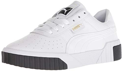 PUMA womens Cali Sneaker, White/Black, 10.5 US