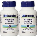Life Extension Vitamins D and K with Sea-iodine,60 Capsules x 2