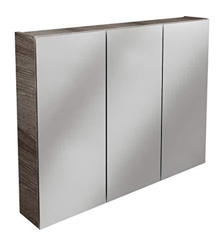 Lanzet Spiegelschrank L0 / Badezimmerschrank mit Spiegel/Maße (B x H x T): ca. 90 x 68 x 14,5 cm/Möbel fürs Bad oder WC/hochwertiger Schrank mit 3 Türen/Korpus: Braun dunkel/Front: Spiegel