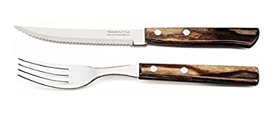 Tramontina Churrasco Riveted Steak Knife and Fork with Wooden Handles