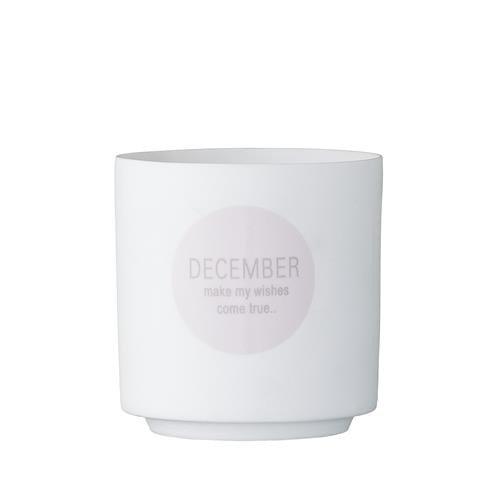 Bloomingville Windlicht Dezember 7 cm Porzellan weiß/rosa/grau - Make My Wishes Come True - Dekoidee - Geschenksidee - Weihnachtsdekoration - Weihnachten