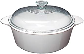 CorningWare Glass-Ceramic Pyroceram Classic Casserole Cooking Pot with Handles & Glass Cover, White, Round, 1.3 Quart, 1.2...