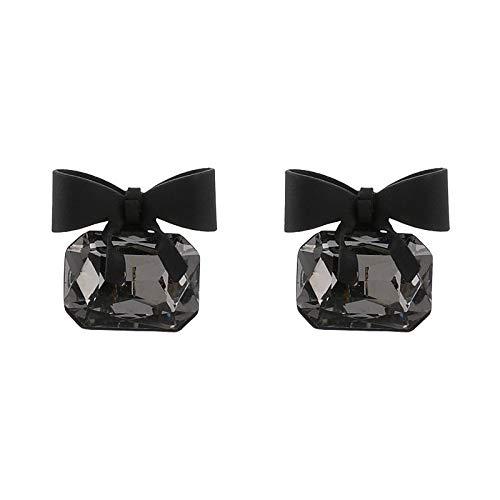 Arete Nueva Joyería De Moda Color Negro Bowknot Cube Pendiente De Cristal Pendientes De Lazo Cuadrado Para Mujeres Bonito Regalo