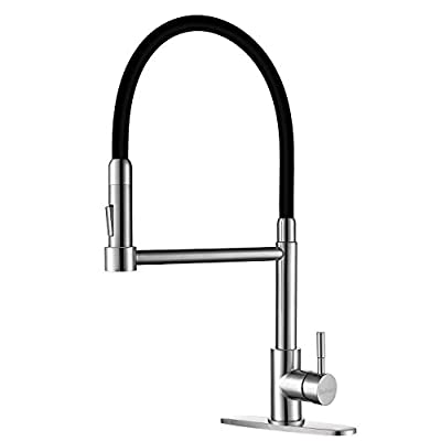 Single Handle Touch On Kitchen Sink Faucet with Pull Down Sprayer, 360 Degree Stainless Steel Pull Out Kitchen Faucets