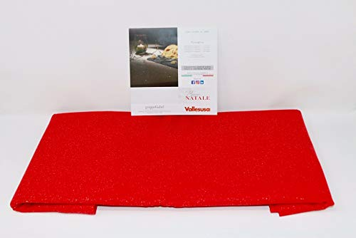 Vallesusa Art. Saint Etienne, TOVAGLIA Natalizia Rettangolare Stampata Con Glitter Su Panama Di Cotone, Senza Tovaglioli (Rosso, Rett. X 6 Cm. 150X180)