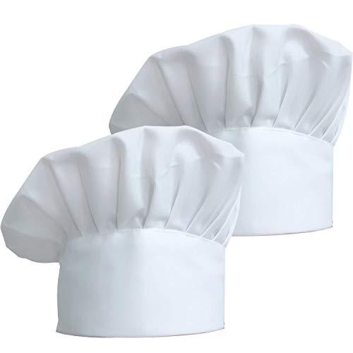 ZKSM 2 Stück Kochmütze Unisex Koch Hut aus Poly Baumwolle Gastromützen mit Einstellbar Gummiband Kochhaube für Männer, Frauen, Kochen, Weiß, 30mm