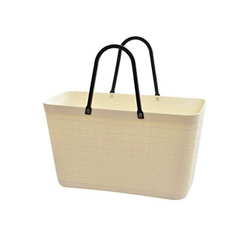 NOBRAND Cesta de plástico de mano de Take Baskets Supermarket para comprar vegetales, cesta de la compra, cesta de la compra, para la cocina, cesta de frutas y verduras, color beige