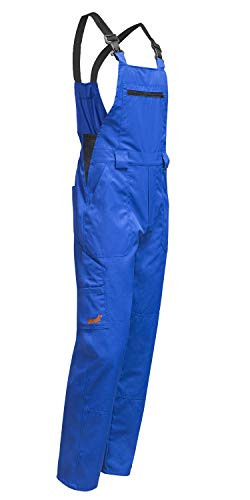 strongAnt® - Latzhose Herren Hamburg mit Stretch im Bund. Arbeitshose mit Kniepolstertaschen - Blaumann easyClean Made in Europa - Größe: 44, Farbe : Blau