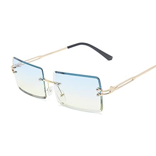 SLAKF Gafas de Sol Retro marrón Cuadrado Gafas de Sol Damas pequeñas Gafas de Sol Gafas de Sol Espejo Degradado Femenino sin Marco (Lenses Color : Blue Yellow)
