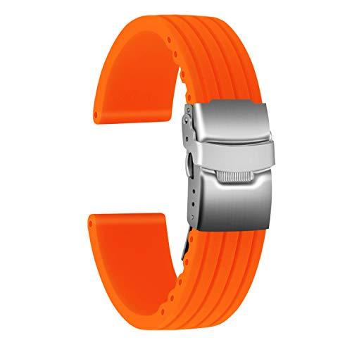 Ullchro Correa Reloj Calidad Alta Recambios Correa Relojes Caucho Stripe Pattern - 16mm, 18mm, 20mm, 22mm, 24mm Silicona Correa Reloj con Acero Inoxidable Hebilla desplegable (22mm, Naranja)