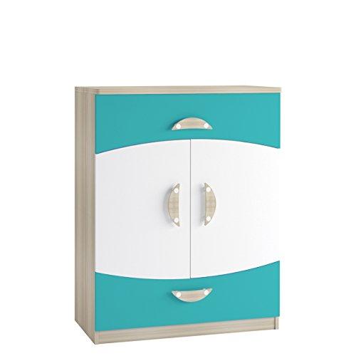 Mirjan24 Kommode Tenus II K2D2SZ mit 2 Schubladen, Highboard, Schrank Sideboard Möbel für Jugendzimmer Kinderzimmer (Eiche Sonoma/Weiß + Türkis)