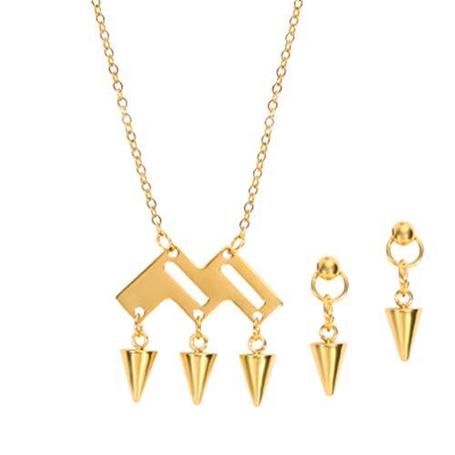 YAZILIND Simple Cono Colgante Collar Pendientes de joyería de Acero de Titanio para Mujer