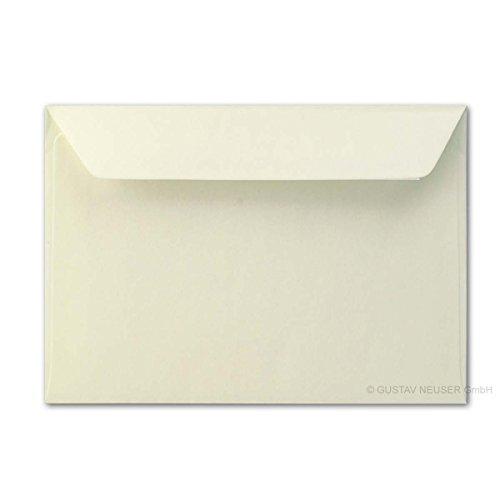 50x Brief-umschläge aus Feinst-Papier 12 x 18 cm - ca DIN B6 mit Haftklebung, creme, stabile 90 g/m², Post-Umschläge Brief-kuverts