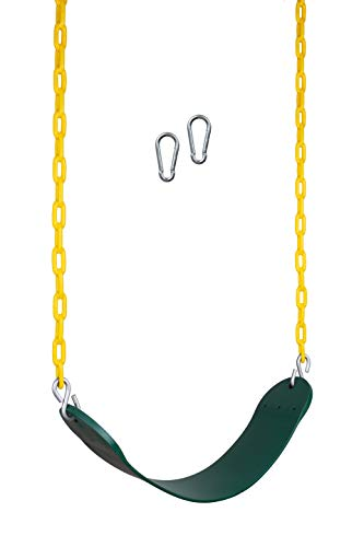 New Bounce Swing Seat - Swing Set Accessories for Outside, with Heavy Duty Rust-Proof Chain Coated in Thick Plastic for Safety and Comfort - Outdoor Swings for Kids and Adults (1 Pack)