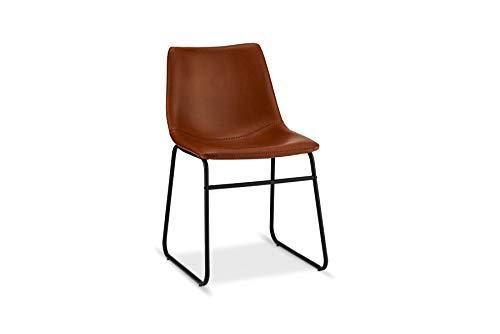 Ibbe Design 2er Set Cognac Braun Kunstleder Esszimmerstühle Vintage Lounge Industrial Küchenstühle Abel, Schwarz Metallgestell, 46x54x78 cm