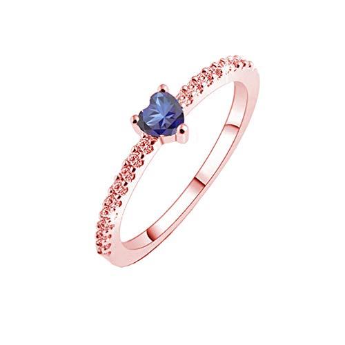 Pinhan Anillo de piedra artificial con forma de corazón de amor para parejas, anillo de promesa de amor para siempre.