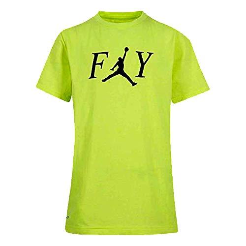 Nike Air Jordan Boy's (8-20) Dry Fit Graphic T‑Shirt (Volt, Medium)