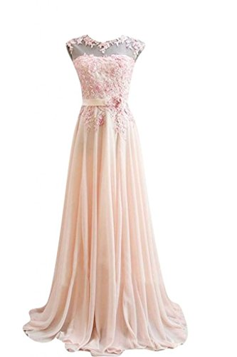 Kmformals Damen Chiffon Langes Party Ballkleid Abendkleid 36 Rosa