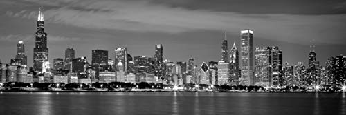 Wieco Art Chicago City Center Skyline in Black and White Canvas Prints Modern Canvas Art Cityscape Wall Decorations for Living Room Pictures for Bedroom Decorations