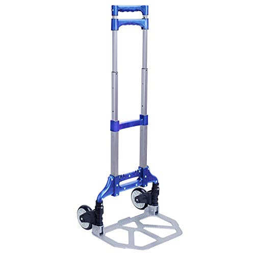 Folding Hand Truck, Portable Aluminum Dolly Luggage Cart 165lbs Capacity with 2 Wheel, Folding Multi-use Carrier with Non-Skid Rubber Handle for Travel (Pure Blue)